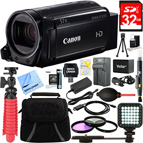 Canon VIXIA HF R700 Full HD Black Camcorder + 32GB Memory Card + BP-727 Battery Kit + Accessory Bundle