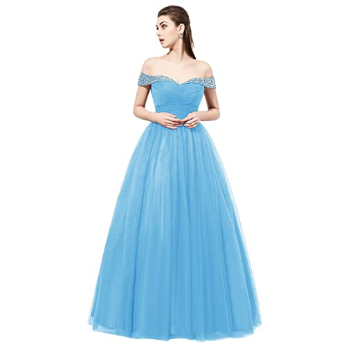 Dresstells reg; Long Tulle Off Shoulder Prom Dress with Beading Evening Party Dress