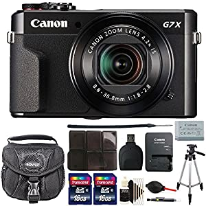 Canon G7X Mark II PowerShot 20.1MP BLACK Digital Camera with 32GB Accessory Kit Black
