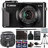 Canon PowerShot G7 X Mark II 20.1 MP Wifi/NFC Digital Camera (Black) + 2 x 16GB Memory Card + Case +Tall Tripod + More