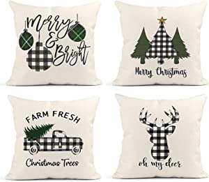 Britimes Throw Pillow Covers 18x18 Inches Christmas Home Decor Set of 4 Pillow Cases Decorative for Bed Sofa Cushion Couch Winter Outdoor Buffalo Plaid Elk Truck Pillowcases (White and Black)