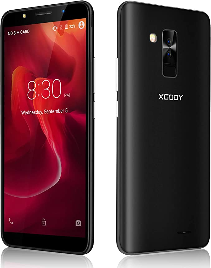 Xgody SIM Free Mobile Phones, Y26 Android GO 8.1, Dual SIM Unlocked Smartphone 6 Inch IPS Display 2800mAh Battery 8MP+5MP Dual Cameras Bluetooth GPS 3G Mobile Phone (Black): Amazon.es: Electrónica