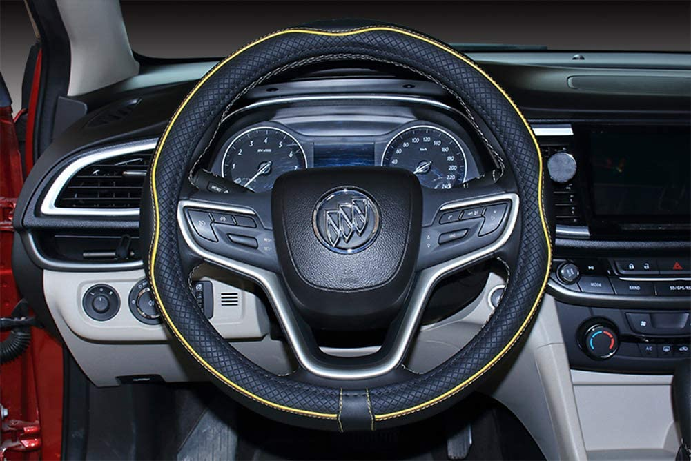 2019 New Microfiber Leather Car Large and Small Steering wheel Cover 15.25-16, Black Gray
