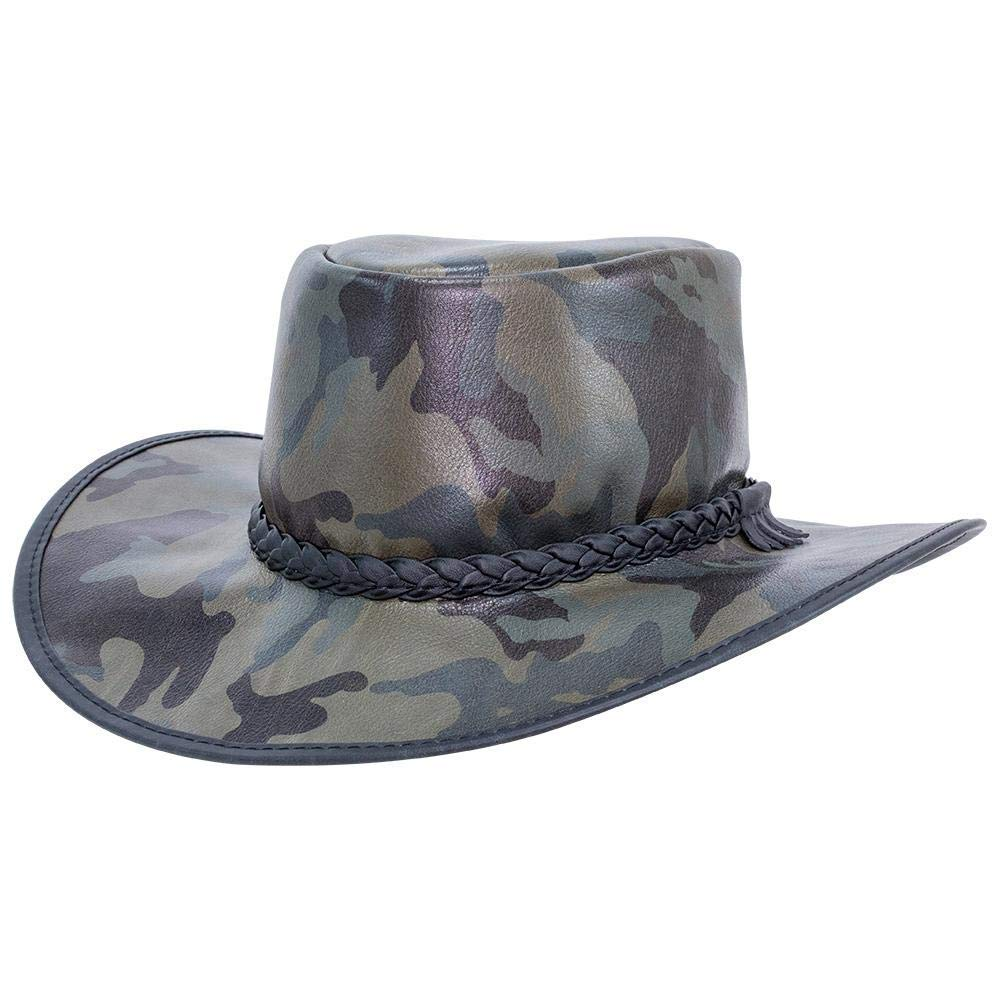 American Hat Makers Crusher by American Outback Leather Hat Camo by American Hat Makers