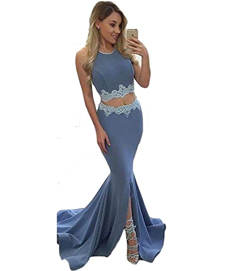 LovelyBridal Elegant O-Neck A-Line Sweep Train Lace Evening Dress Cheap Prom Dresses