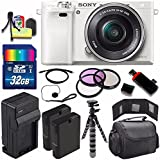 Sony Alpha a6000 Mirrorless Digital Camera with 16-50mm Lens (White) + Battery + Charger + 32GB Bundle 5 - International Version (No Warranty)