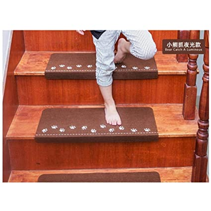 Sothread Soft Luminous Visual Stair Carpet Pad Anti Skid Staircase Mats  Safe Treads (Coffee
