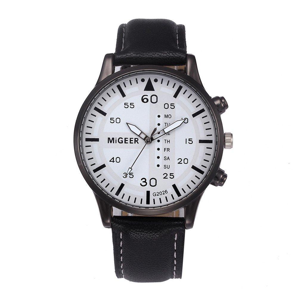 Triskye Mens Analog Quartz Watches Business Casual Classic Luxury PU Leather Strap Band Fashion Round Wrist Watch Man Wristwatch Bracelet with Calen for Boys