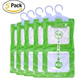 A&J 5 Pack Kitchen Bathroom Wardrobe Hanging Hygroscopic Anti-mold Deodorizing Moistureproof Desiccant Bag, Dehumidification process Could be Witness