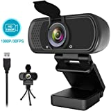 1080P Webcam,Live Streaming Web Camera with Stereo Microphone, Desktop or Laptop USB Webcam with 100-Degree View Angle, HD Webcam for Video Calling, Recording, Conferencing, Streaming, Gaming