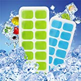 Ice Cube Trays 4 Pack, Easy-Release Silicone 14-Ice Trays with Spill-Resistant Removable Lid, LFGB Certified & BPA Free, Dishwasher Safe, Stackable