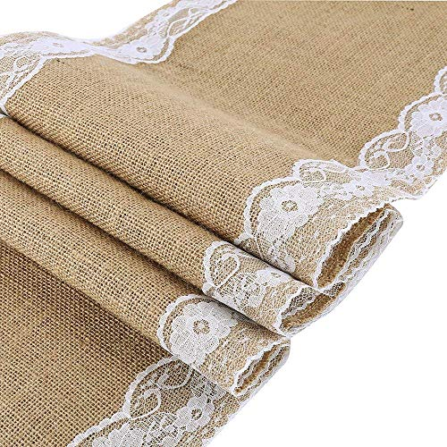 Joe&Lory 12x72 Inch Burlap and Lace Table Runner Fall Decorations Country Rustic Barn Wedding Decorations, Farmhouse Kitchen Decor, Baby & Birdal Shower Decoration (1) (1, Nature)