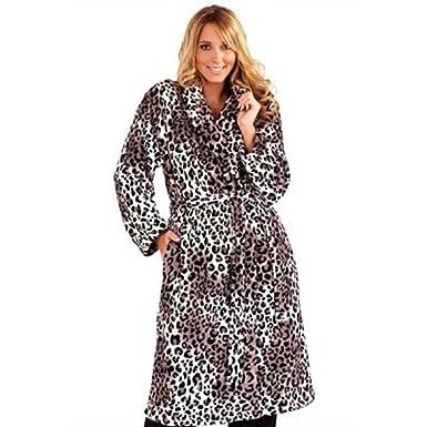 WOMENS LEOPARD PRINT FULL LENGTH VELOUR ROBE DRESSING GOWN WITH BELT ...