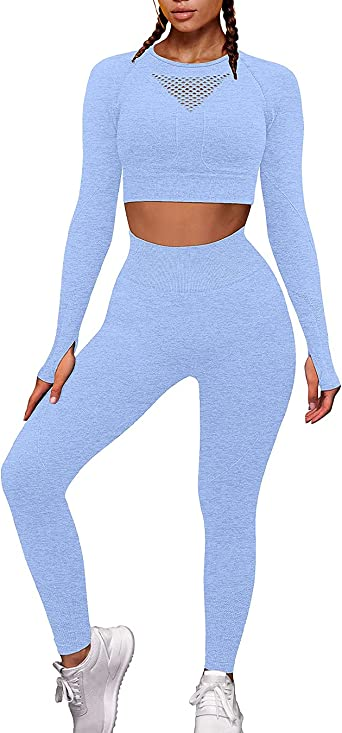 JOYMODE Workout Sets for Women 2 Piece High Waist Seamless Leggings and Crop Top Yoga Outfit