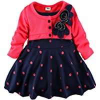 WEONEDREAM Infant Girl Spring Autumn Long Sleeve False Two Princess Dress 2-4T