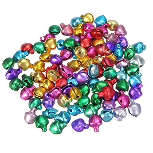 EORTA 500 Pieces Craft Bells Small/Mini Jingle Bells Loose Beads Bell Ornament for Art Festival Christmas Decoration Handmade DIY, 6mm, Multicolor