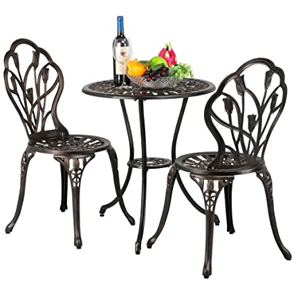 Yaheetech 3 Piece Bronze Patio Set Outdoor Patio Furniture Tulip Design  Setting Cast Bistro Table Chair - Amazon.com: Yaheetech 3 Piece Bronze Patio Set Outdoor Patio