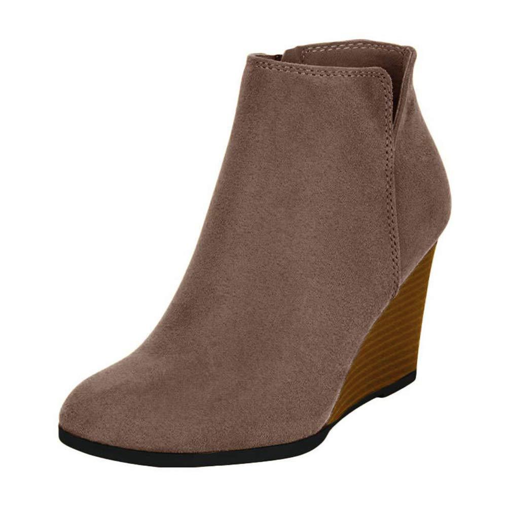 Xiakolaka Women Wedge Boots Retro Wedge Heel Booties with V Cut