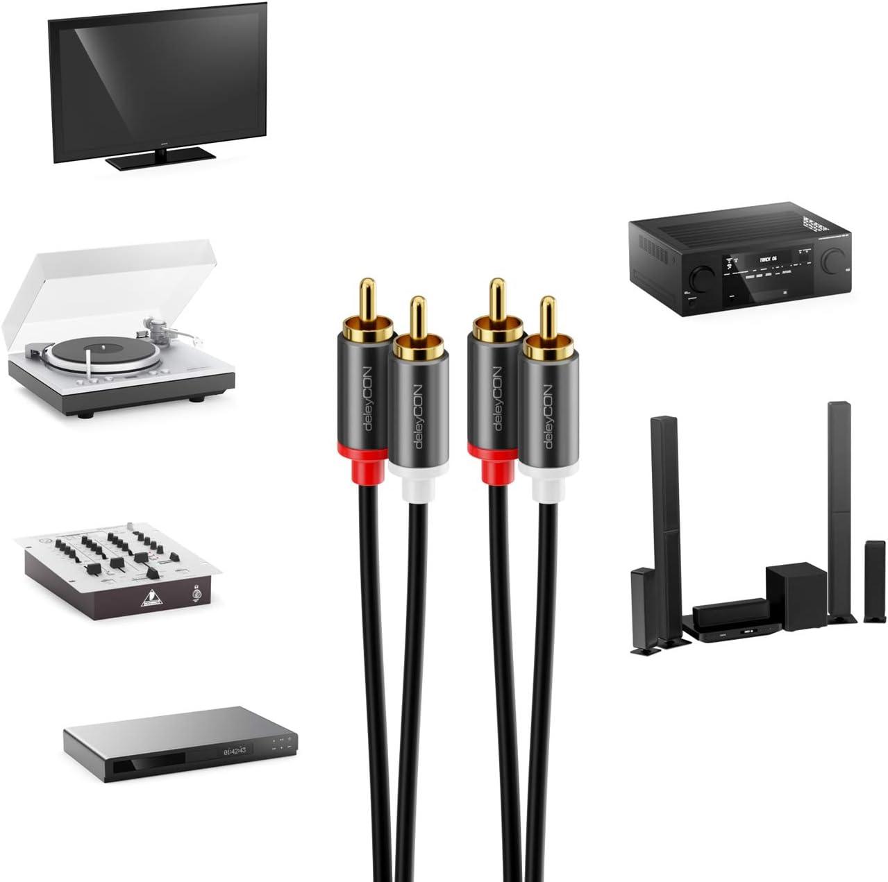 deleyCON 3m Cinch Cable RCA Cable Audio de Alta Fidelidad Conector de Metal Chapado en Oro para Amplificador de Sistema Est/éreo de Cine en Casa Receptor Alta Fidelidad Reproductor BLU-Ray