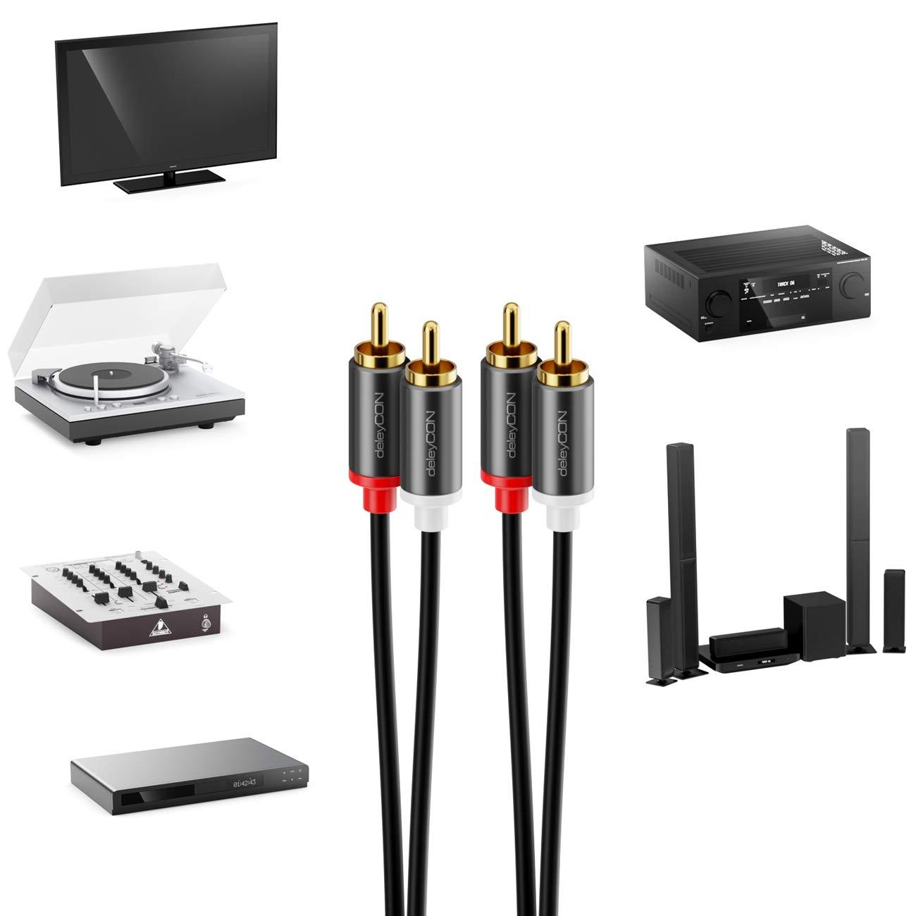 deleyCON 5m Cinch Cable RCA Cable Audio de Alta Fidelidad Conector de Metal Chapado en Oro para Amplificador de Sistema Est/éreo de Cine en Casa Receptor Alta Fidelidad Reproductor BLU-Ray