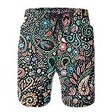 HUDEWDS23 New Blacklight Chalkboard Paisley Summer Suit Men's Beach Pants With Pockets