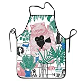 Cat Concentration Camp Neck Bib Apron For Women And Men - Adjustable Neck Strap - Restaurant Home Kitchen Apron Bib For Cooking, Grill And Baking, Crafting, Gardening, BBQ
