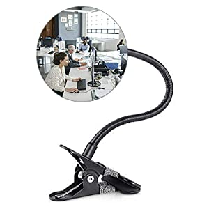 Suremita Security Convex Mirror with Adjustable Clip for Personal Safety Open Office Environment Dressing Room and Cubicle Computer Desk Rear View or Anywhere (Round)
