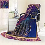 aolankaili Fleece Blanket 300 GSM Anti-Static Super Soft Ornament Beautiful Card with Girl Belly Dance mehenidi Element Hand Drawn perfe Warm Fuzzy Bed Blanket Couch Blanket(90''x 70'')