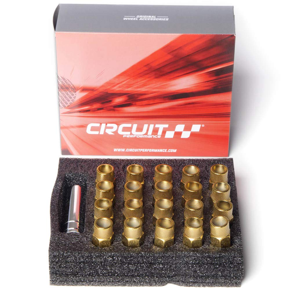 Circuit Performance Forged Steel Extended Open End Hex Lug Nut for Aftermarket Wheels: 12x1.25 Gold - 20 Piece Set + Tool by Circuit Performance (Image #6)