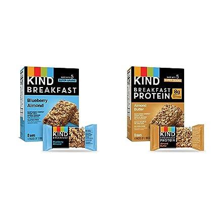 Amazon.com : KIND Breakfast Bars, Blueberry Almond, Gluten Free, 1.8oz, 32 Count & Breakfast Protein Bars, Almond Butter, Gluten Free, 1.76oz, 32 Count : Garden & Outdoor