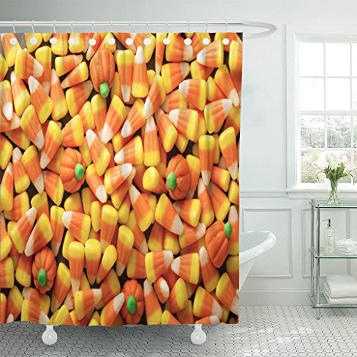 TOMPOP Shower Curtain Colorful Candy Corn and Pumpkin Halloween Overhead Shot Orange Waterproof Polyester Fabric 60 x 72 Inches Set with Hooks -