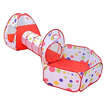 Jacone Kids Play Tent-Tunnel-Ball Pit with Basketball Hoop 3-in-  sc 1 st  Amazon.com & Amazon.com: Jacone Kids Play Tent-Tunnel-Ball Pit with Basketball ...