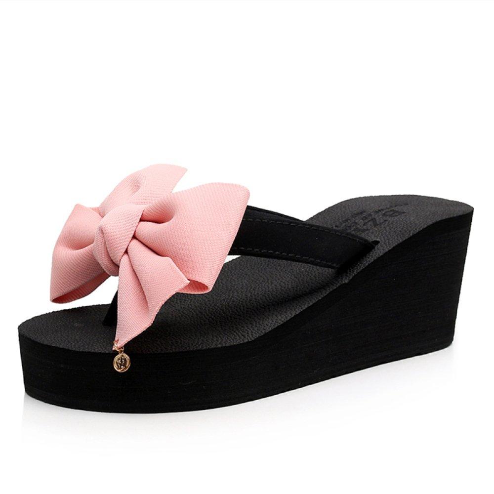 CHENGXIAOXUAN Sandales Et CHENGXIAOXUAN Talons Pantoufles à Semelles Chaussures épaisses pour Femmes Été Talons Compensés à La Mode Tongs Talons Doux Chaussures de Plage Chaussures Romaines Décontractées Pink 270932c - piero.space