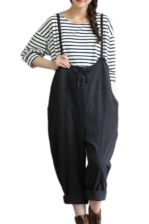 Fanvans Womens Maternity Lounge Pants Linen High Waist Jumpsuit Black M