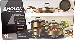 Anolon Advanced Home Hard-Anodized Nonstick 11-Piece Cookware Set (Bronze)