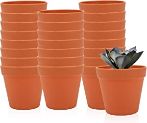 4.3 Inches / 24 pcs Plastic Plant Pots, Gardening Containers, Planters, Perfect for Indoor and Outdoor Decoration, Garden, Kitchen, Flower, Succulents (Yellow)