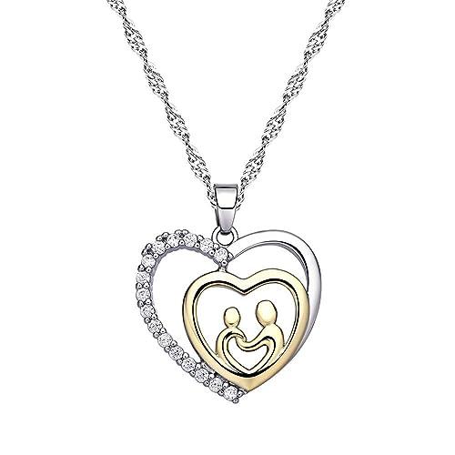 l'atteggiamento migliore 62f46 8b946 Argento + oro gioielli collane per madre e figlia cristallo ...
