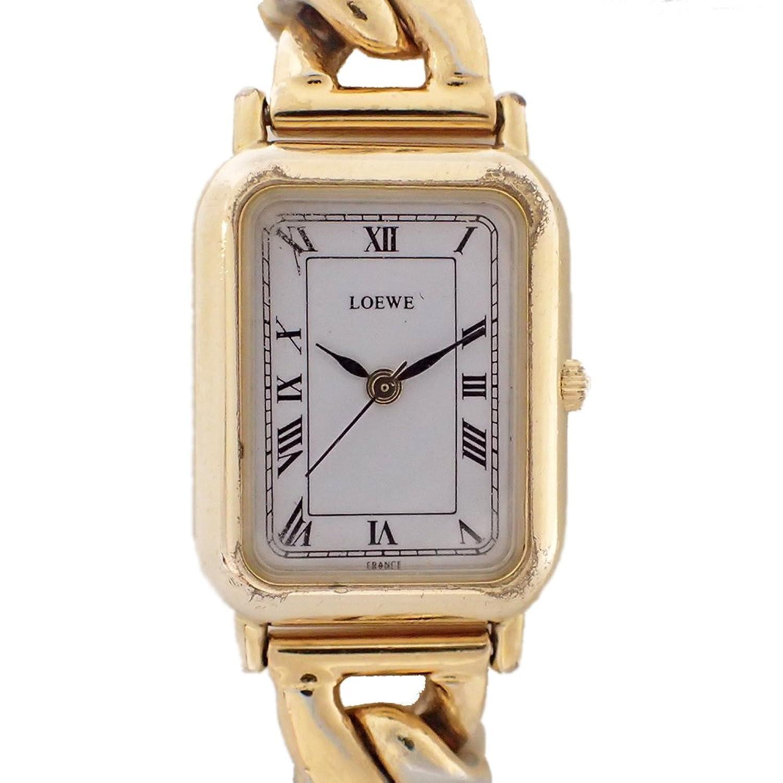 ロエベ 腕時計 ブレスレット バングル レザー ゴールド レディース ホワイト文字盤 中古 B07F3GC9NG