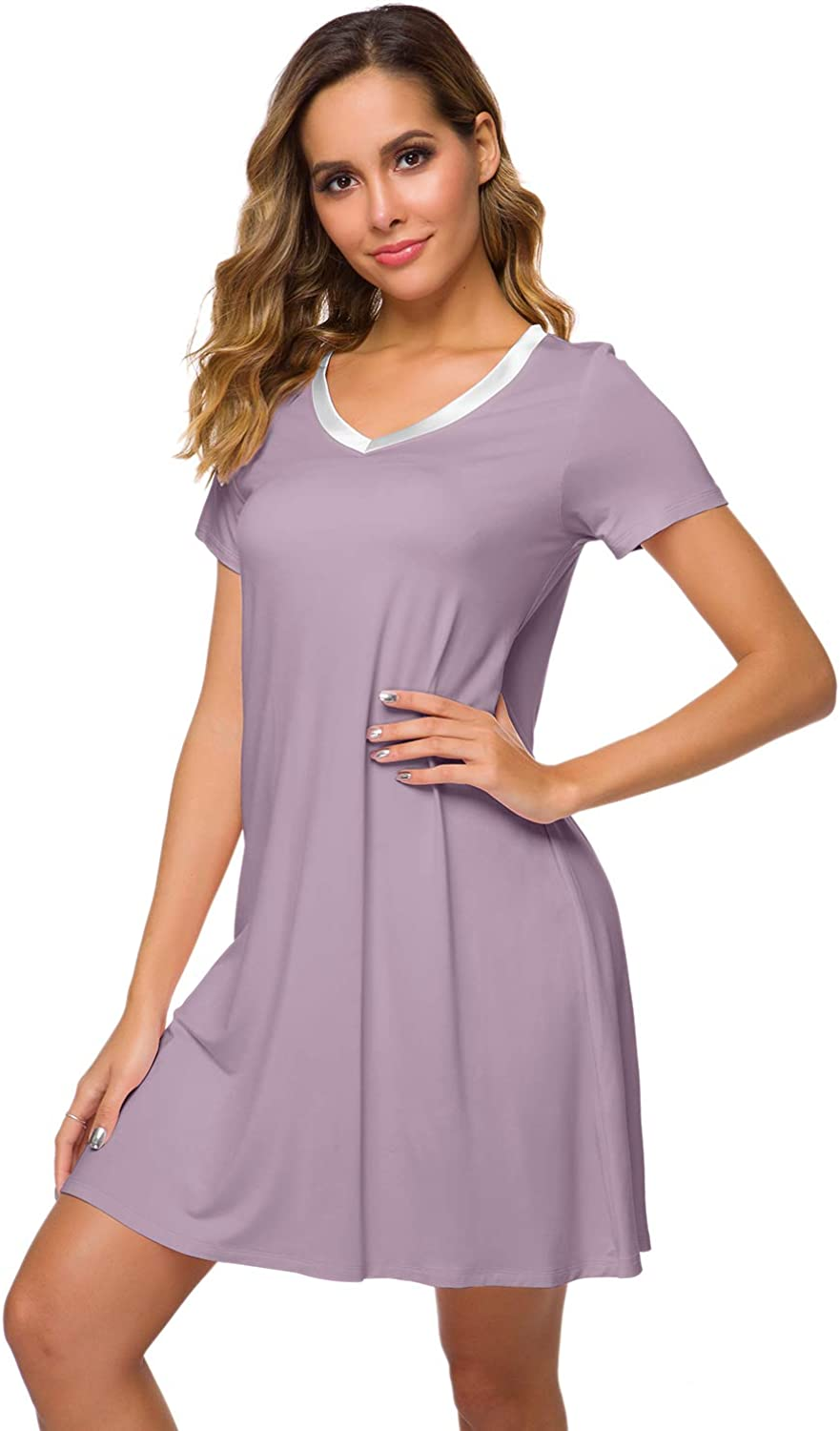 WiWi Womens V Neck Bamboo Nightgown Soft Short Sleeve S-4X