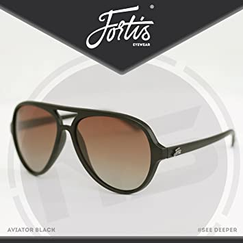 Fortis – Gafas de pesca Aviator Gafas de sol, Matte black frame with polarized brown