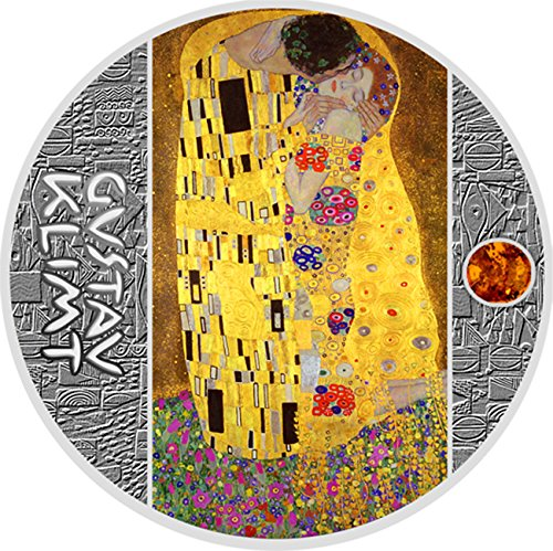 Power Coin Kiss Kuss Gustav Klimt Golden Five Silber Münze 1 Niue 2018