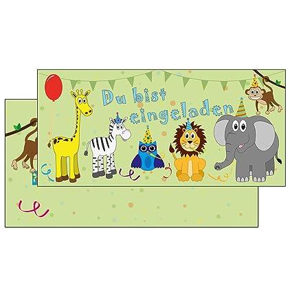 Umschlag Kindergeburtstag Mädchen 5 Einladungskarten Affe Dschungel grün inkl
