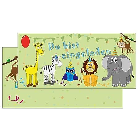 Schöne Einladungskarten Mit Briefumschlag Bunte Tiere Gründu Bist