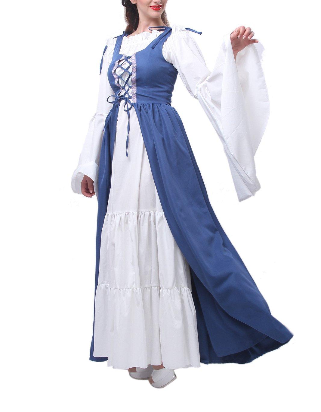 ROLECOS Womens Renaissance Medieval Irish Costume Boho Underdress Overdress Coat Light Blue L by ROLECOS (Image #1)