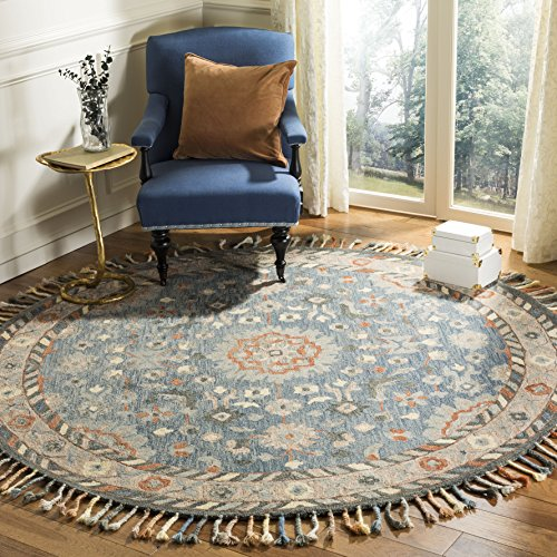 Safavieh Aspen Collection APN123A Blue and Rust Premium Wool Round Area Rug 7 Diameter