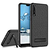 Huawei P20 Pro Case with Kickstand,GUAGUA Slim Fit Hybrid Flexible Bumper Cover with Linen Cloth Design Anti-Slip Shockproof Protective Tough Phone Case for Huawei P20 Pro(2018) Gray/Black