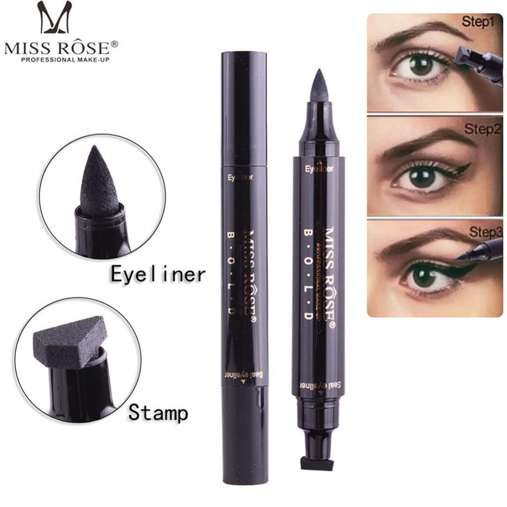Miss Rose Waterproof Double-Ended Makeup Stamps Professional Eyeliner Thin Lines Cosmetics Pencil :Black