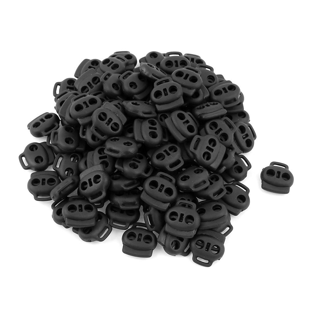 YOYOSTORE 20 Pcs Black Double Holes Black Oval Bean Lanyard Cord Lock Stopper Fastener Slider Diy