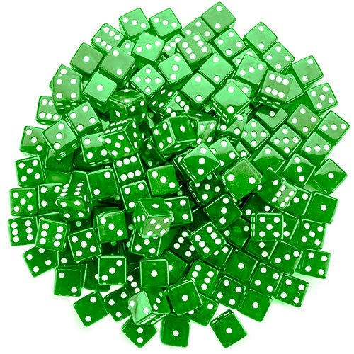 Brybelly Dice (100 Count), Green, 19mm ()