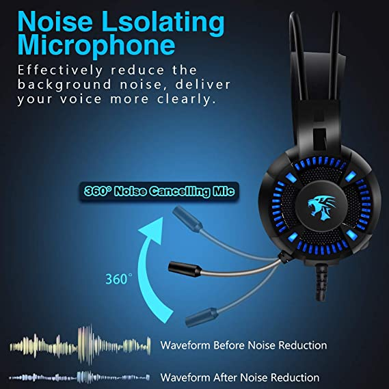 Compatible with PC//PS4//Xbox One//Switch,Black Over-Ear Soft Memory Earmuff HLKYB 50mm Drivers Stereo Surround Sound Gaming Headset with Noise Cancelling Mic